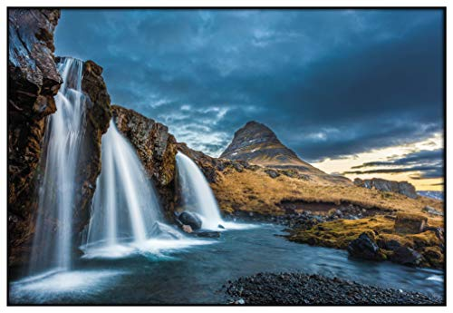 Panorama Metacrilato Enmarcado Cascadas de Islandia 35x50cm - Impreso en Metacrilato de 3mm Marco - Cuadros para Salón - Cuadro de Pared - Láminas Decorativas - Cuadros Modernos