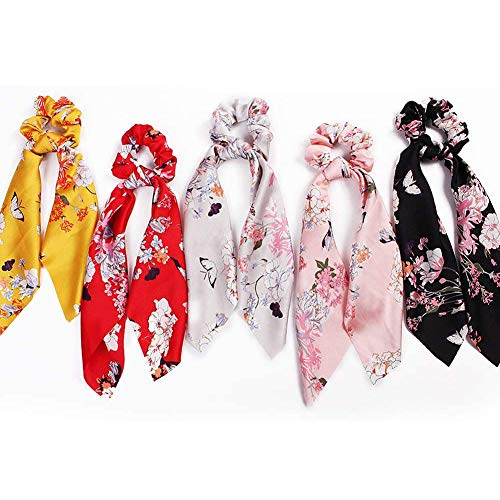 Strik haar scrunchies Vintage Bloemen Elastische haarbanden elastisch satijn sjaal Haar In Women 5Pcs,a