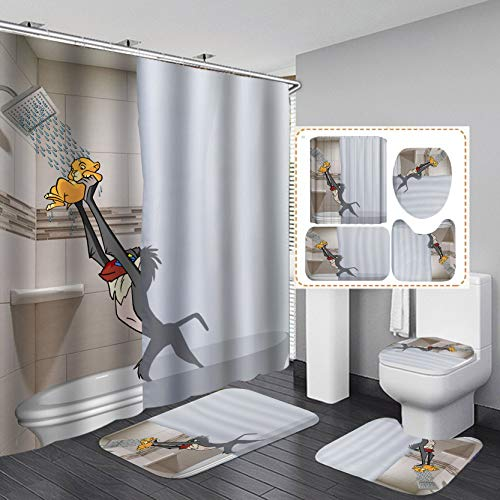 Fashion&Man 4PCS/Set Funny 3D Shower Curtain Sets with Rugs Waterproof Polyester Cool Shower Curtain, Bathroom Rugs Toilet Mat Bath Carpet, wtih 12 Hooks, 72x72in, Lion