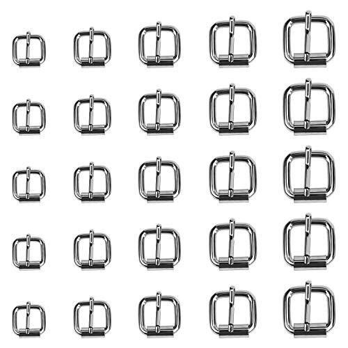 Coolty 75pcs hebillas de rodillo de metal, hebilla de perno para bolsos, correa de piel, accesorios de bricolaje, 13 mm, 16 mm, 20 mm, 25 mm, 32 mm (plata)