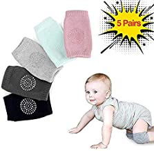 KACOOL Baby Knee Pads for Crawling Toddler Knee Crawler Protectoer Cover, Elastic Anti-Slip Cotton Knee Pad Leg Warmer for Unisex Infant Boys Gilrs (5 Pairs)