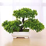 LACKINGONE Pianta Artificiale Bonsai, in Pino, per Ufficio, davanzale e Cortile, Colore: Verde 1/2/4 PCS (1)