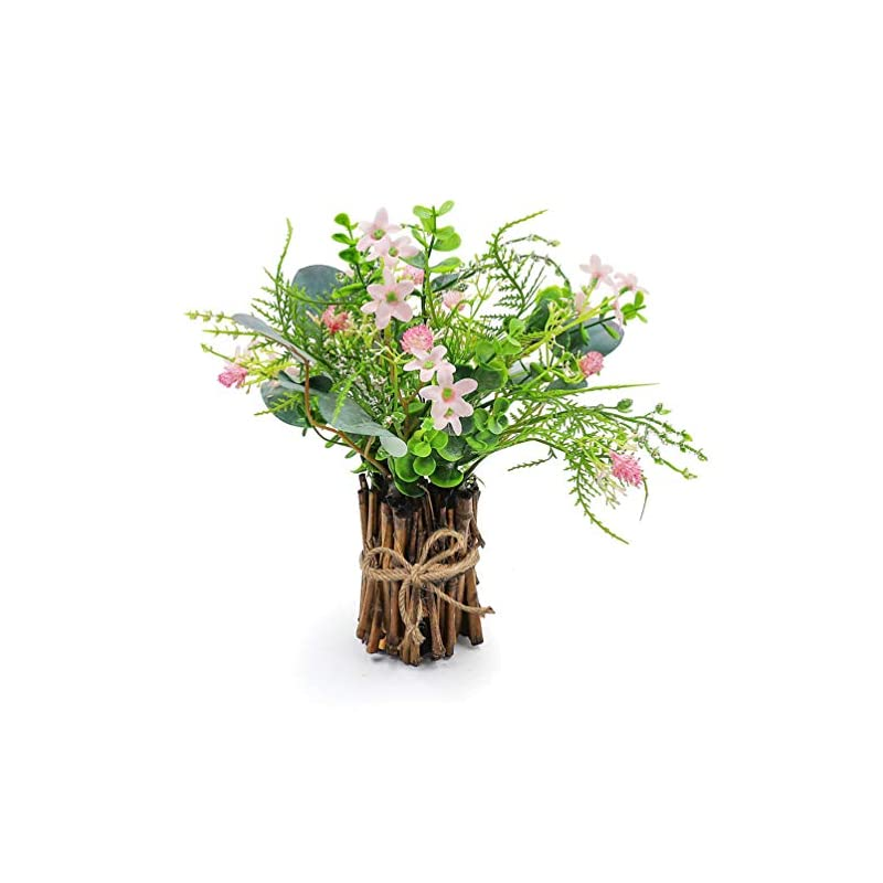 silk flower arrangements acelisti artificial flower arrangement fake plastic plant bouquet mini bunch bundle with bamboo wood stems – small greenery decoration for wedding centerpiece, easter, spring party