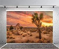 GooEoo 8x6ft 秋の自然風景スタイルデザイン夕焼け空砂漠サボテン写真背景写真スタジオブース背景家族休暇誕生日パーティー写真ビニール素材