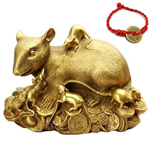 DSACXZ Feng Shui ratte/muis Chinees beeld 2020 cadeau voor nieuwjaar, sculptuur van het sterrenbeeld, messing, verzamelaarsbeeldje, decoratie rijkdom en geluk goud