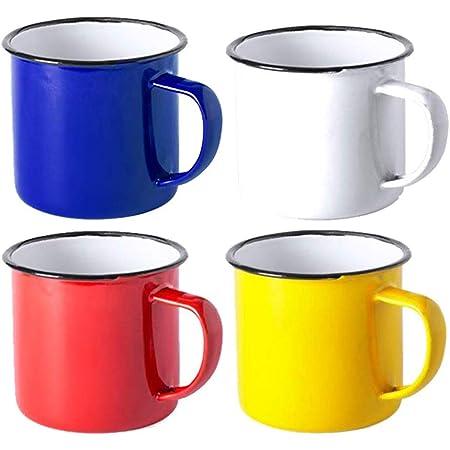 FUN FAN LINE – Set Tasses Vintage, Tasse Retro, Mug Old School, métallique, dans une boîte cadeau (Couleurs varièes) (Multicolore, 4 Tasses)