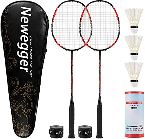 Newegger Badminton Rackets, Badminton Racquets Set of 2 Pack Rackets and 3 Shuttlecocks, Carry Bag, Backyard Badminton Rackets for Adults.