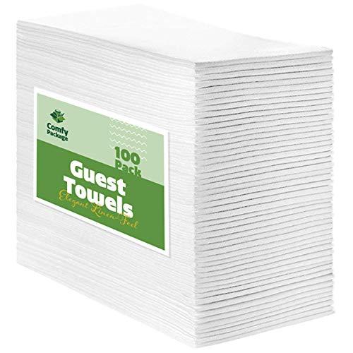 [100 Pack] Linen-Feel Guest Towels - Disposable Cloth Dinner Napkins, Bathroom Paper Towels, Wedding Napkins