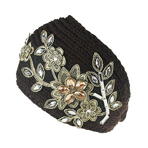 TININNA Mode Serre-tête Bande de Cheveux Laine Tricoté Fleur d'or Turban Elastique Couvre-Oreille Head Wrap Chapeaux pour Femme Fille Café