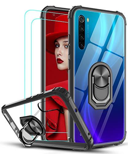 LeYi Funda Xiaomi Redmi Note 8 con [2-Unidades] Cristal Vidrio Templado,Transparente Carcasa con 360 Grados iman Soporte Silicona Bumper Antigolpes Armor Case para Movil Note 8,Clear Negro