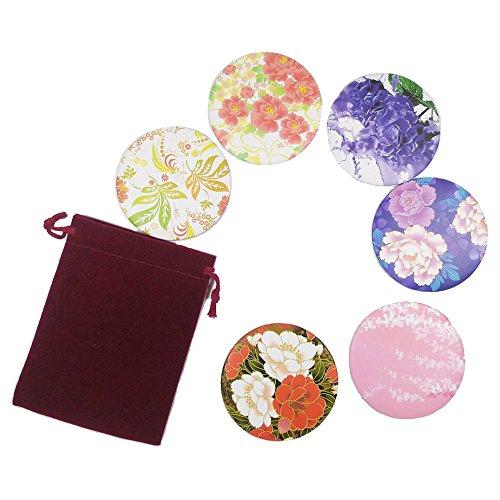 6pcs Floral Print Circle Round Makeup Pocket Mirror Adorable Small Gifts