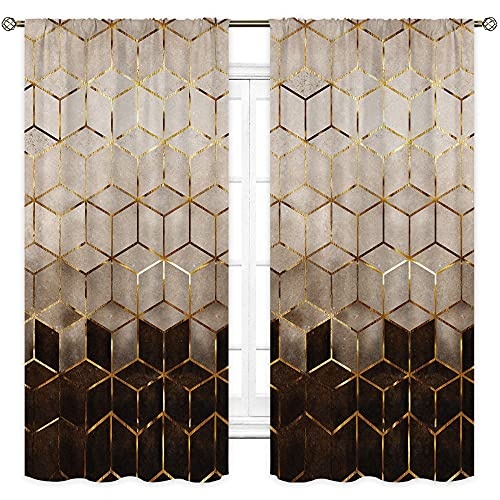 Cinbloo Abstract Marble Curtains Ombre Brown Black Rod Pocket Geometric Grid Bedroom Decor Cubic Pattern Aesthetic Gold Lines Modern Creative Living Room Window Drapes Treatment Fabric 42W x 63L Inch