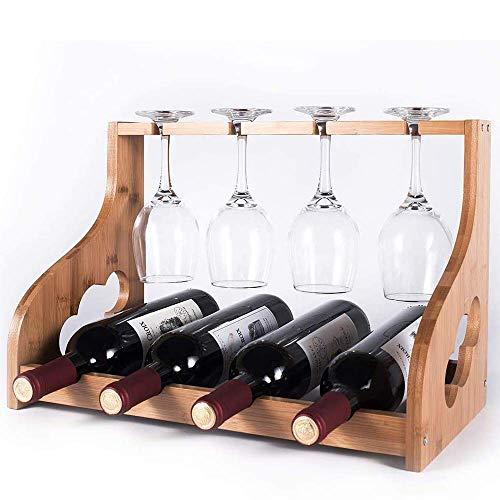 YWYW Estante de Vino de encimera, Estante de Vino de bambú con Soporte de Vidrio, Organizador de Vino de Madera de Mesa