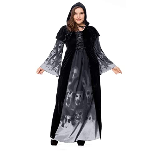 87824982dfc YuStar Women s Skull Printed Witch Plus-Size Dress Halloween Cosplay Party  Jumpsuit Fancy Costume
