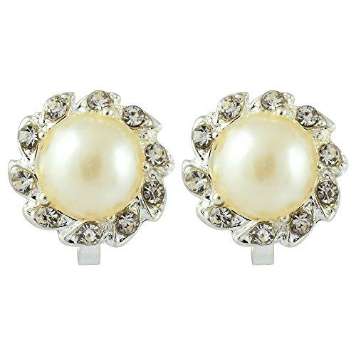 RIVA Sonne Clip on Ohrklemme Ohrringe mit Rundschliff Strass Kristall [Creme Elfenbein Perlen] in 18K Weißes Gold Vergoldet, Einfache Moderne Eleganz