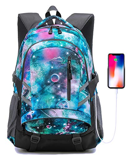 Backpack for School College Student Laptop Bookbag Business with USB Charging Port Night Light Reflective Luggage Chest Straps (Galaxy Type F)