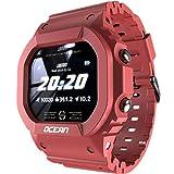 Lokmat Ocean - Reloj inteligente con pantalla táctil de actividad física IP68, resistente al agua, reloj deportivo Bluetooth 4.0, multideporte, estilo rojo