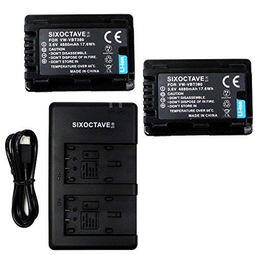 SIXOCTAVE パナソニック 互換バッテリー VW-VBT380 VW-VBT380-K 2個& USB 急速互換デュアル充電器 カメラバッテリーチャージャー VW-BC10 VW-BC10-K 3点セット [ 純正品と同じよう使用可能 残量表示可能 ] HC-WX1M/HC-WZX1M/HC-VX1M/HC-VZX1M/HC-WXF1M/HC-WZXF1M/HC-VX990M/HC-VZX990M/HC-V210M/HC-V230M/HC-V360M/HC-V360MS/HC-V480M/HC-V520M/HC-V550M/HC-V620M/HC-V720M/HC-V750M/HC-VX980M/HC-W570M/HC-W580M/HC-W850M/HC-W870M/HC-WX970M/HC-WX990M/HC-WXF990M/HC-WX995M/HC-VX985M/HC-W585M/HC-W590M/HC-WZ590M/HC-V480MS/HC-VX992M/HC-VZX992M/HC-WX2M/HC-WZX2M/HC-VX2M/HC-VZX2M 対応