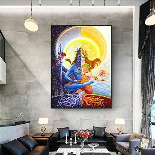 Frameloze schilderij Schilderijen aan de muren van de doeken van de hindoegoden, versierde Indiase idolen op de muur van de woonkamerZGQ6555 40X60cm