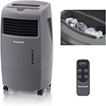 Honeywell 500-694CFM Indoor Outdoor Portable Evaporative Cooler with Fan & Humidifier, Ice Compartment & Remote Control, CO25AE, Gray
