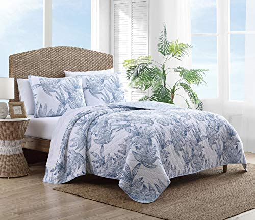 Tommy Bahama | Kayo Collection | Quilt Set  100% Cotton  Cozy Soft and Breathable  Reversible amp MediumWeight for All Season Bedding Full/Queen Blue