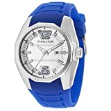Police 14763JS01A - Reloj de Pulsera para Hombre (47,5 mm, Correa de Silicona Azul, Caja de Acero Inoxidable, batería analógica)