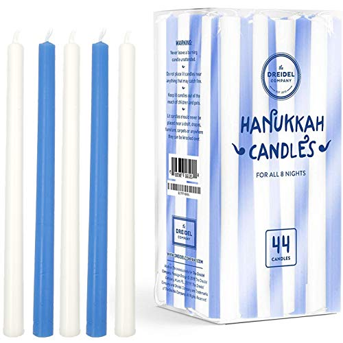 The Dreidel Company Menorah Candles Chanukah Candles 44 Tall White and Blue Hanukkah Candles for All 8 Nights of Chanukah (Single - Tall Hanukkah Candles)