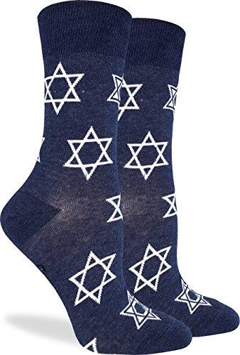 Good Luck Sock Women's Star of David Socks - Blue, Adult Shoe Size 5-9