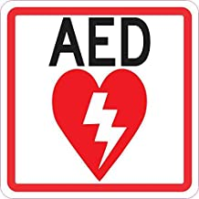 StickerTalk AED Vinyl Sticker, 4 inches by 4 inches