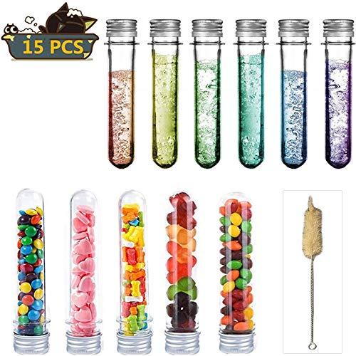 JoGoi Test Tubes - Kunststof Test Tubes (15St) met Reiniging Borstel Test Tubes Vaas voor Bloemenplanten Zaad Kralen Naalden Sieraden Hooks Snoep Wetenschappelijke Experimenten Verjaardag Party Supplies