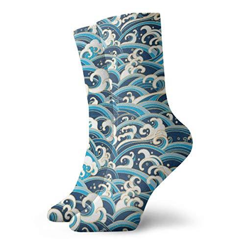 BJAMAJ Unisex-Socken mit Wellenmuster und interessantem Polyester für Erwachsene