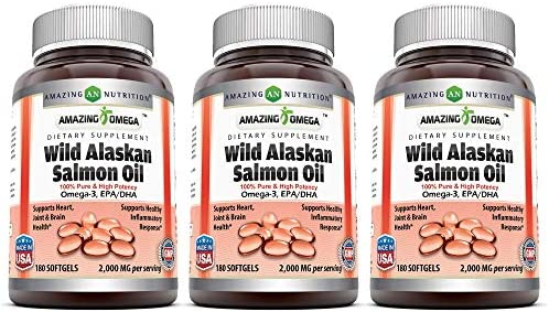 Amazing Omega Wild Alaskan Salmon Oil - 2000 mg of Salmon Oil Per Serving, 180 Softgels (Non-GMO) - Supports Heart, Joint & Brain Health and Promotes Healthy inflammatory Response (180 Softgels)
