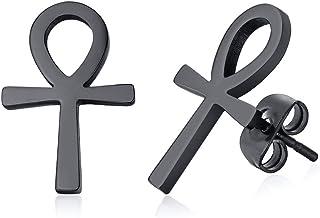 Ancient Egyptian Symbol Ankh Cross Stud Earrings Stainless Steel Key of Life Ear Plugs for Men Women