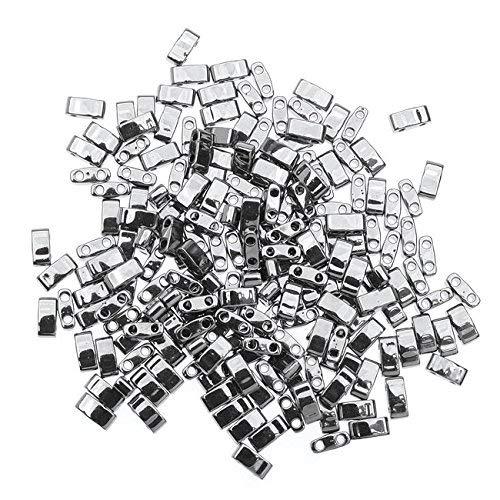 Miyuki Half Tila 2 Hole Rectangle Beads 5x2.3mm - Nickel Plated 7.8 Grams