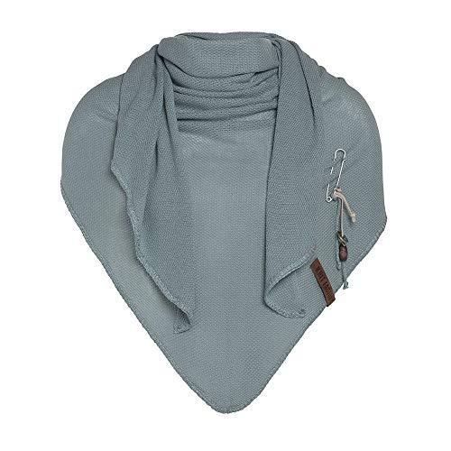 Knit Factory - Lola Dreieckstuch - Fein Gestrickter Damen Schal - Tuch Schal - Für Frühling und Sommer - Baumwollmix - Stone Green