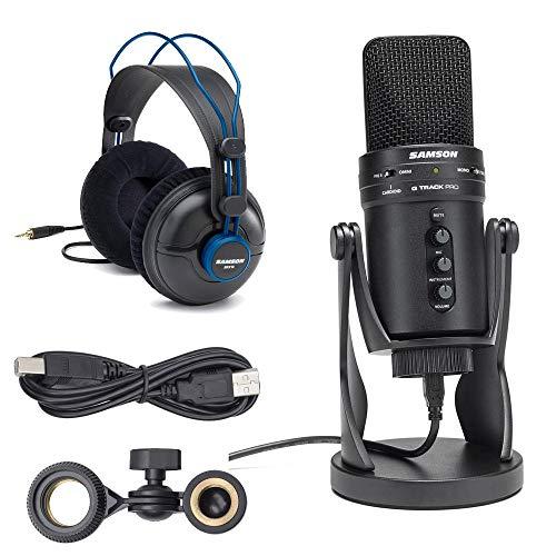 Samson G-Track Pro - Micrófono condensador de estudio USB de 24 bits con interfaz de audio y soporte de choque + auriculares de referencia Samson Professional Studio.