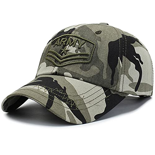 JUNJUNBO Gorras de béisbol de Verano para Hombre, Gorra táctica del ejército de algodón, Sombreros Militares de Camuflaje para Hombre, Snapback Ajustable al Aire Libre