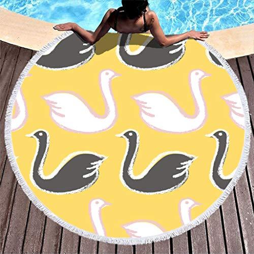Toalla de playa redonda con diseño de cisne, color blanco y negro, ideal para picnic, para adultos, para la playa, el sol, la arena de secado rápido, poliéster, blanco, 150 cm