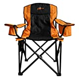 4Tek - Heated Portable Chair - 3 Heat Levels | Outdoor - Camping - Sports - Stadium | Orange & Black | Large Seat - Includes Battery Power Bank…