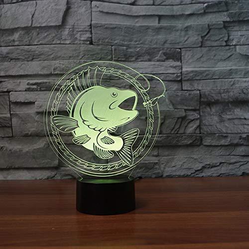 Luz de noche Lámpara de mesa LED en forma de pez 3D con fuente de alimentación USB pesca táctil luz de noche linterna atmósfera animal regalo creativo para niños