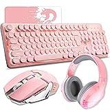 Rechargeable Gaming Keyboard Mouse Headset Combo White Led Backlit 104 Keys Ergonomic Gamer Pink Keyboard & 2400DPI Adjust Game Mice Gaming Stereo Bluetooth Headset for Laptop Computer Mac (SH33 Pink)