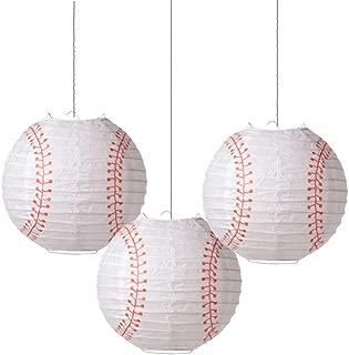 8'' Baseball Paper Lanterns Sports Team Party Decoration 3 Pieces Easy Joy