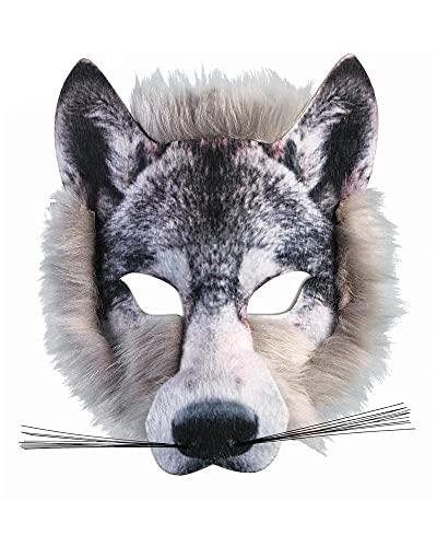 Forum Novelties X78180 Máscara de piel realista de lobo unisex, adulto, gris, talla única