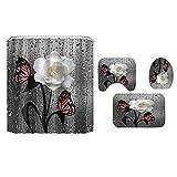 BTUWRUI Cortina de ducha 3D con flores y mariposas, resistente al agua, juego de cortinas de baño, con flores y paisaje, antideslizante, alfombra para tapa de inodoro