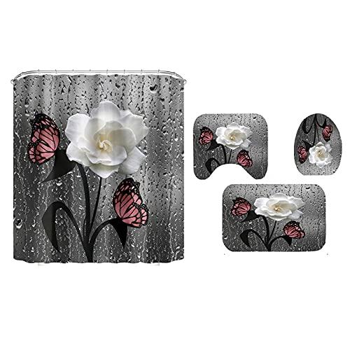 BTUWRUI Cortina de ducha 3D con flores y mariposas,...