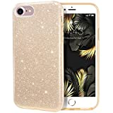 MILPROX Glitter case for iPhone SE (2020) iPhone 8 iPhone 7 4.7', Shiny Sparkle Bling, 3 Layer Hybrid Protective Soft Phone Case for iPhone SE (2020) & iPhone 7/8- Gold