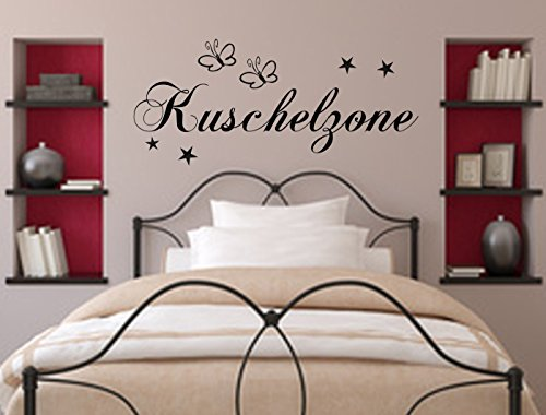 Wandschnörkel® WANDTATTOO Wandaufkleber Kuschelzone Dekoration Schlafzimmer Wohnzimmer Kinderzimmer Spruch Sterne