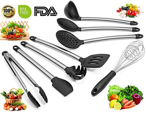 8 Piece Kitchen Cooking Silicone Utensils Set - Bamshoot Nonstick Utensils Set, Silicone and Stainless Steel, Tong, Spoon, Spatula Tools, Pasta Server, Ladle, Strainer, for Cooking,Baking and Mixing