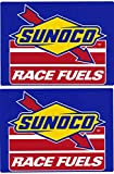 Sunoco Race Fuels Racing Decals Stickers 7-3/4 Inches Long Size Vintage Set of 2
