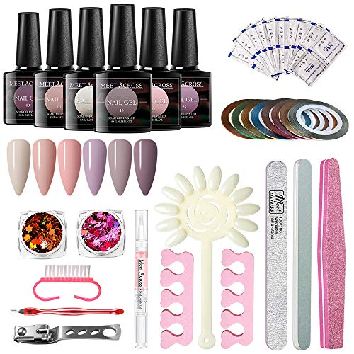 MEET ACROSS Gel Nail Polish Start Kit-6 Colors Fall Winter Gel Polish With Pink Gold Nail Glitter Powder and 10PCS Nail Art Upgraded Manicure Tools Set and nail remover wraps